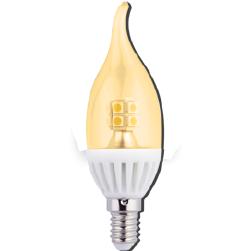 Фото Светодиодная лампа Экола, Ecola candle LED 4W 220V E14 золотистая прозрачная свеча на ветру искристая точка 14 LED 125х37