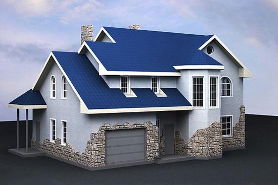 Фото домов с синей крышей
